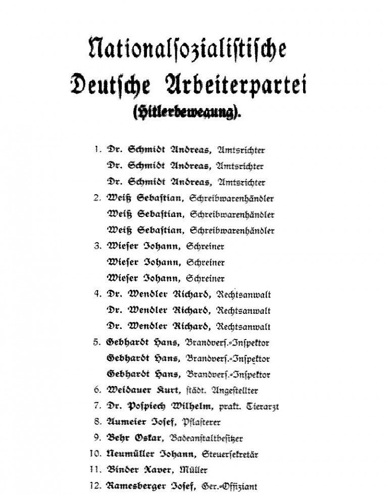 Kandidatenliste NSDAP